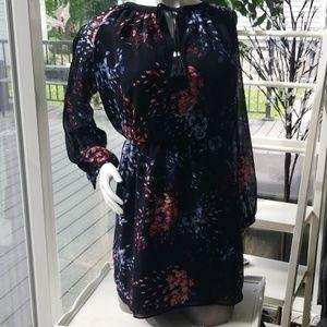 🎇HP🎇NEW WHBM Bohemian Shirt Dress Nvy/Pnk 10P